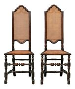 A Fine Pair Of 19th Century William And Mary Walnut And Cane High Back Hall Chairs