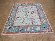 8and0393 X 10and0392 Hand Knotted Sky Blue Turkish Colorful Oushak Oriental Rug G10958