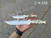 Custom Hand Made Pair Of Hunting Knives With Leather Sheath