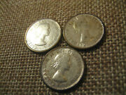 1955-1957 10c Canada 10 Cents Set 3 Coin Lot
