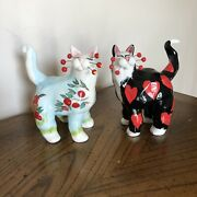 Amy Lacombe 2002 Annaco Creations Cat Figurines Painted Red Apples Black Hearts