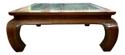 Large Chinese Square Lattice Top Elmwood Coffee Table With Inset Glass