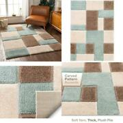 Well Woven Ella Light Blue Geometric Boxes Thick Soft Plush 3d Textured Shag Are