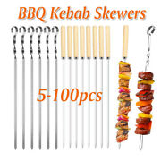 1-100pcs Bbq Barbecue Skewers Stainless Steel Grilling Kebab Flat Needle Sets Us