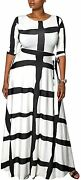Samachica Plus Size Dresses For Women Casual Black And White Striped See Through