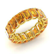 3.40 Ct Real Citrine Gemstone Wedding Band 14k Real Yellow Gold Size 5.5 6 7 8 9