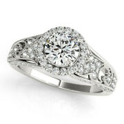 1.10 Ct Real Diamond Engagement Ring For Women 14k Solid White Gold Size 5 6 7 8