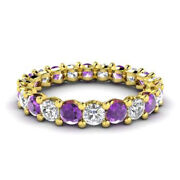 2.03 Carat Certified Real Diamond Amethyst Band 14k Yellow Gold Rings Size 5 6 7