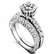 1.40 Ct Moissanite Engagement Solitaire Real 14k White Gold Rings Size 5 6 7 6.5