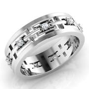 Round Cut 0.23 Ct Diamond Band 14k Solid White Gold Mens Diamond Rings Size 9 10