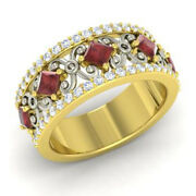1.40 Ct Real Diamond Garnet Wedding Bands 14k Solid Yellow Gold Rings Size 5 6 7