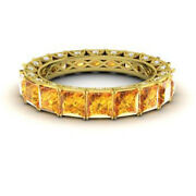 4.40 Ct Real Diamond Citrine Wedding Bands 14k Solid Yellow Gold Size 5 6 7 8 9