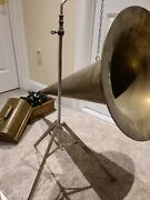 Antique Working 1903 Edison And039standardand039 Oak Wind-up Cylinder Phonograph With Horn