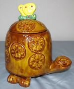 Mid Century Modern Vtg Mccoy Tommy Turtle With Butterfly Cookie Jar 271