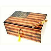 Old Glory Weathered Patriotic American Flag 100 Cigar Humidor - Free Shipping