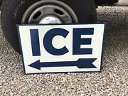 Antique Vivian Mfg Co Double Sided Ice Arrow - Raised Paint- Old Service Station