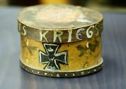Wwi German Soldier Trench Art 1915 Christmas Wooden Pantry Work Box Iron Cross