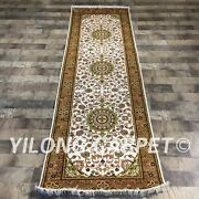 Yilong 2.5and039x8and039 Handknotted Silk Rug Runner Hallway Gallery White Carpet Zw090c