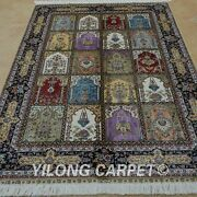 Yilong 4and039x6and039 Handknotted Silk Area Rug Four Seasons Home Luxury Carpet 0689