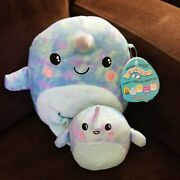 Squishmallows Mom And Baby 8 Set 2021 Rare Nwt Blue Narwhals Tie Dye River