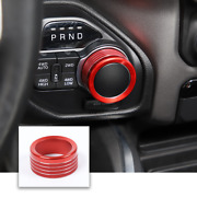 1x Red Gear Shift Switch Knob Trim Decor Ring For Dodge Ram 2018+ Aluminum Alloy