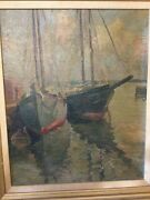 Antique Oil Painting Rockport Seascape Sailboats By Leander M Churbuck 1861-1940