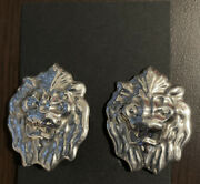 Stunning Taxco Vintage Sterling Silver Lion Face Clip On Earrings Rare