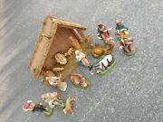Vintage Italy Nativity Set W/figures And Creche, Hand Painted Papier Mache Angels