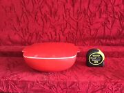 Vintage Pyrex Red Glass Square Casseroles 525b-025 Covered Bowl - Super Clean