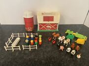 Vintage 1986 Fisher Price Little People Family Farm Barn Silo Animals People