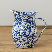 New French Country Farmhouse Vintage Style Blue Spatter Enamel Pitcher Vase