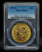 1877-s Pcgs Ms61 20 Gold Liberty Double Eagle [051dud]