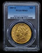 1907-s Pcgs Ms63 20 Gold Liberty Double Eagle [051dud]