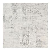 8'x8' Modern Undyed Natural Wool Cut And Loop Pile Light Gray Square Rug G62896