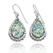 Pear Shape Silver Earrings With Roman Glass Pieces - Handmade Historical Jewelry
