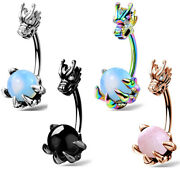 Oufer 14g Dragon Belly Button Rings Opalite Gem Navel Ring Piercings Jewelry