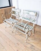 Pair Of Original Late 19th Century Victorian Iron Garden Armchairs Chair French