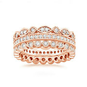 1.00 Carat Real Diamond Engagement Band For Women 14k Rose Gold Size 5 6.5 7 8 9