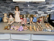 Antique Vintage Lot Of Dolls, Clothes, Furniture And Parts Over 100 Pieces