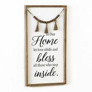 In Our Home Let Love Abide Farmhouse Wall Hanging Sentiment Sign