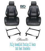 1970 Chevelle H/t Touring Ii Assembled Front Bucket Seats Brackets And Rear Cover