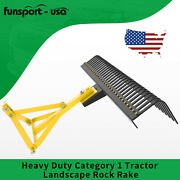 Landscape Rock Tow Rakes 3 Points Tractor For Category 1 Quick Hitch Attachment