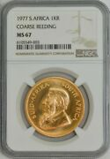 1977 South Africa Krugerrand Course Reeding Ms67 Ngc 944174-3
