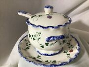 Cote Basque Sugar Bowl W/lid, Spoon And Saucer