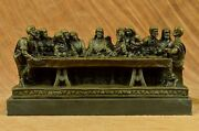 Vintage Rare Large Hand Made Bronze Religious Last Supper From Church Sculpture