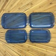 4 Pyrex Cobalt Blue 2-3 Qt And 2-2qt Glass Bake Pans 232r 233r Made In Usa - Nice