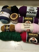 Large Lot Of Yarn -shawl In A Cake, Madala Sparkle, Lion Suede, Big Twist And More