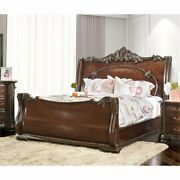 Furniture Of America Angelonia King Sleigh Bed In Brown Cherry