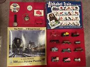 Big Lot Of Railway Puzzles, Wrist/pocket Watch, Model Trains, Buttons, Sharpener