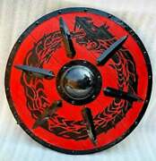Medieval Wood And Metal Knight Shield Handcrafted Viking Decorative Useful Shield